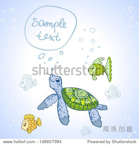 插图人物可爱的乌龟和鱼-动物/野生生物