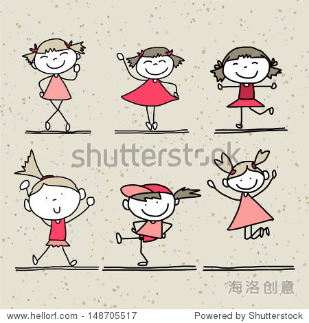 手绘卡通快乐的孩子们玩耍