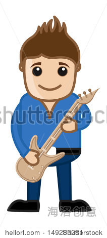 弹吉他——商业漫画 - 假期,人物 - 站酷海洛创意正版