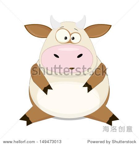 可爱的卡通向量牛