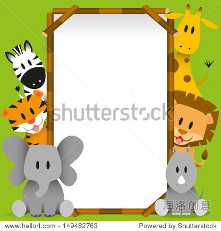 向量可爱的野生动物和空白板