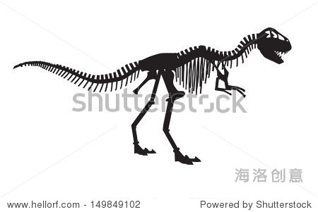 矢量剪影的霸王龙恐龙的骨架