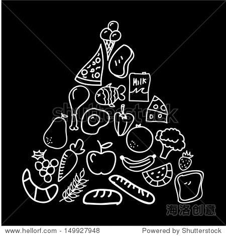 营养在黑板背景矢量图设计-食品及饮料,其它-海洛创意