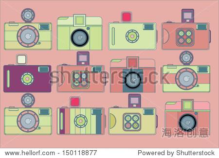 向量的可爱玩具相机在桃子的背景