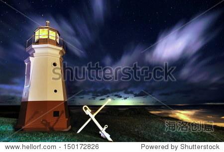 伊利湖灯塔在星空下朱砂俄亥俄州一个接近冷锋