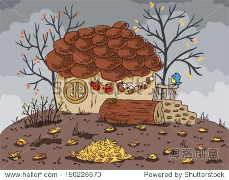 秋天的风景.房子形状的橡子.落叶.