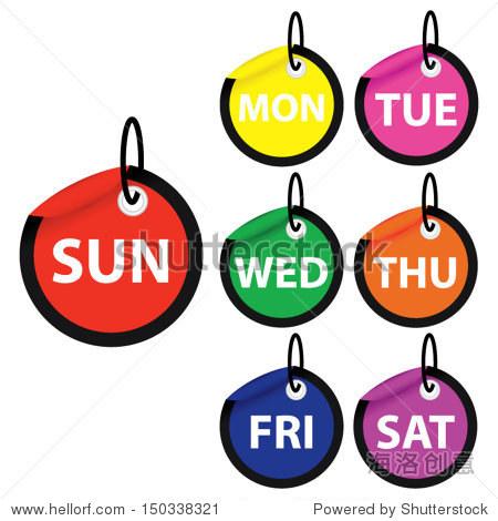 矢量插图。7天的一周从周一到周日彩色标签。