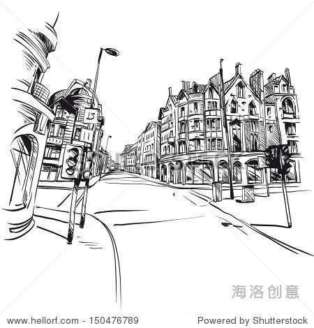 手绘的城市,矢量插图 - 建筑物/地标,背景/素材 - ,,.