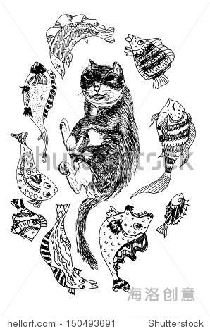 猫在睡觉和做梦的鱼 - 动物/野生生物,自然 - 站酷,,.