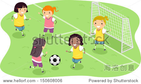 曲棍球手插图一群女孩踢足球图片