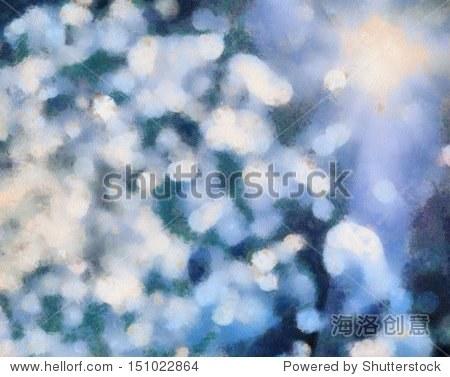 漂亮的画以蓝色背景散景.抽象的手绘水彩背景:蓝色和绿色的模糊.