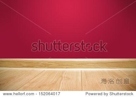 红色的墙和木地板的背景-背景/素材