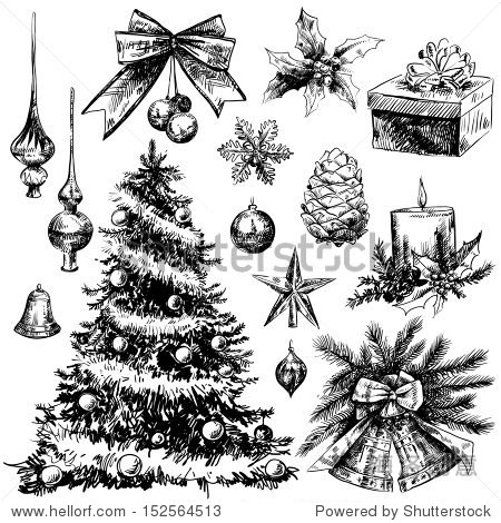 圣诞节手绘元素
