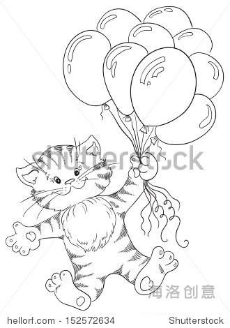 小猫是一串气球飞行-动物/野生生物