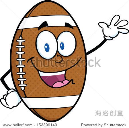 美式橄榄球球卡通人物挥手打招呼