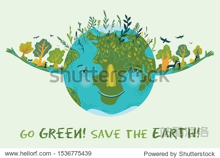 Illustration of cute  happy and prosperous Earth in harmony. Save and protect planet Earth. Conceptual ecological illustration for poster or banner.