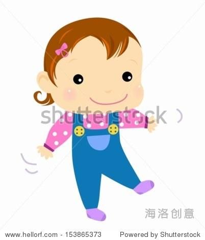 婴儿学习走路——向量卡通-人物-海洛创意正版图片