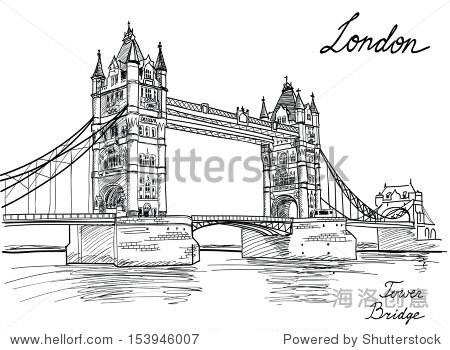 英国的塔桥,伦敦,英国.手绘插图.向量的背景. - 建筑