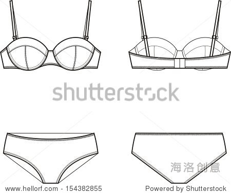 矢量插图的女性的内衣,胸罩和内裤.正面和背面的观点