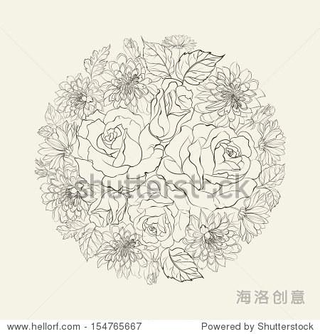 手绘束玫瑰花.矢量插图.