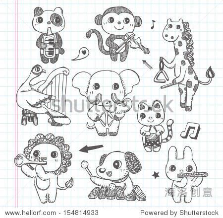 涂鸦动物乐队图标集 - 背景/素材 - 站酷海洛创意正版