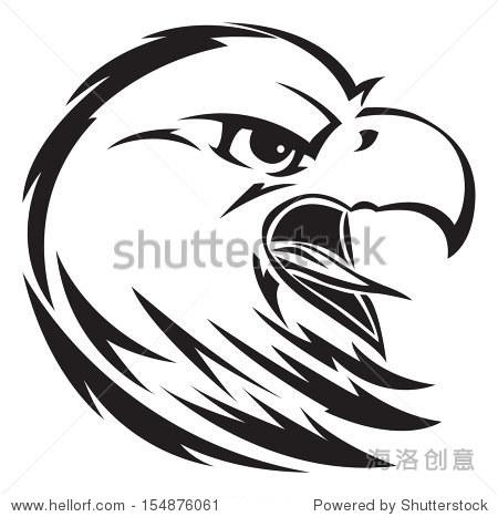 鹰头纹身设计,复古雕刻插图.