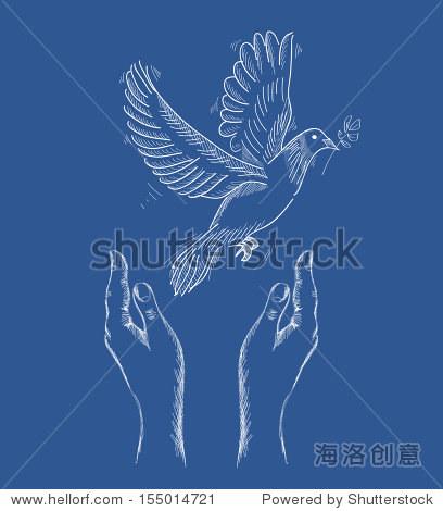 素描风格与和平鸽子象征人类在蓝色背景说明 EPS10矢量文件组织层图片