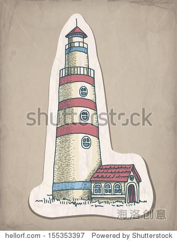 矢量手绘插图的灯塔
