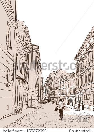 古代欧洲的脚街铺石块.向量草图. - 建筑物/地标,公园