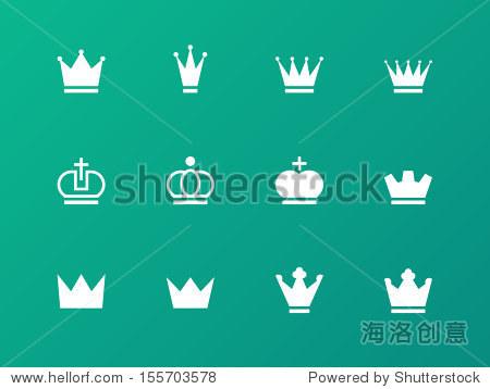 皇冠图标在绿色背景上 矢量插图 物体,符号 标志 站酷海洛创意正高清图片