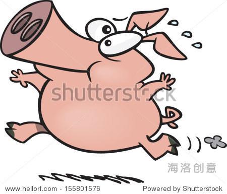 卡通猪跑-动物/野生生物-海洛创意正版图片,视频,音乐