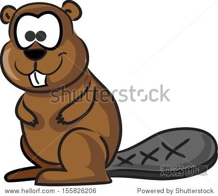 卡通可爱的海狸 - 动物/野生生物,符号/标志 - 站酷