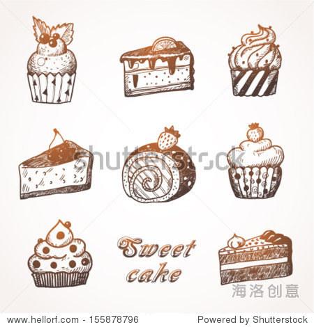 纸杯蛋糕.手绘插图