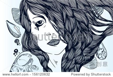 年轻漂亮的女孩,长头发,纹身哭泣