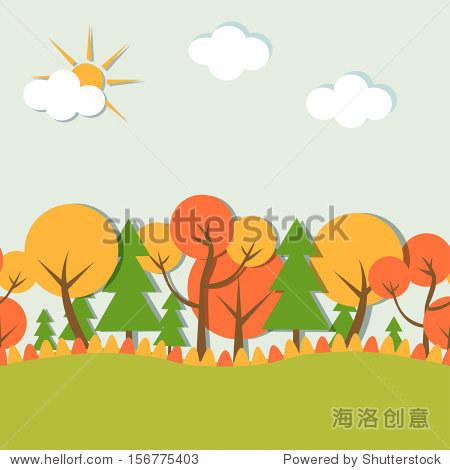 秋天的插图,秋天的风景,金色的秋天
