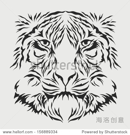 老虎头向量,手绘