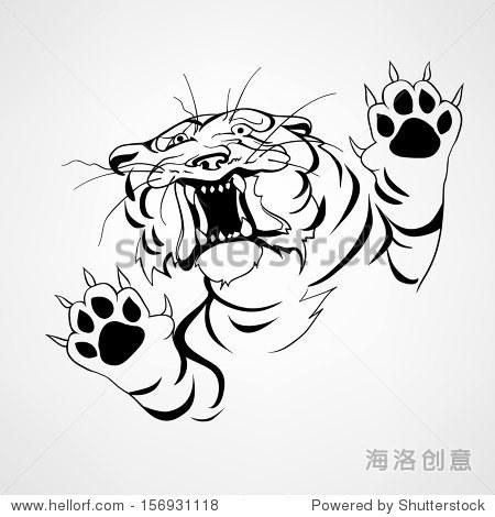 老虎生气.黑色的纹身.矢量图