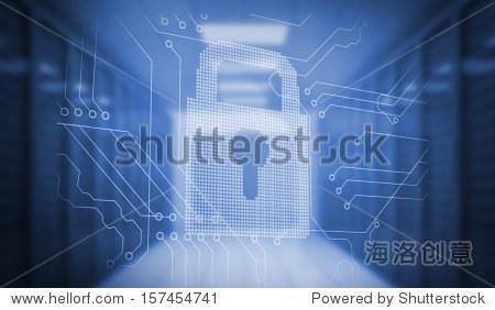 数字电路板上产生锁在蓝色的房间里 - 人物,科技