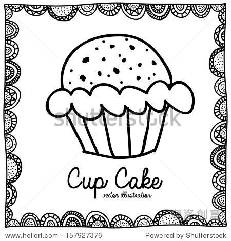 杯子蛋糕画在白色背景矢量插图