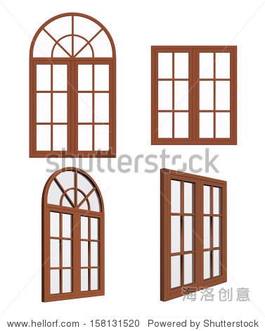 的木质窗户关闭.孤立在白色背景