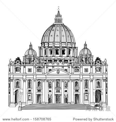 圣彼得大教堂,罗马,意大利.手绘矢量插图孤立在白色背景.