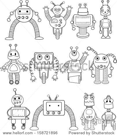 卡通机器人集-向量