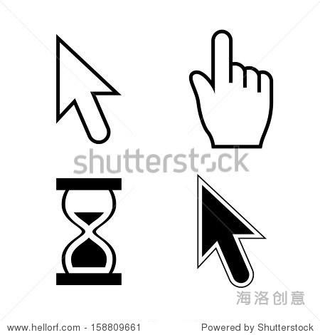 矢量插图的光标设置,鼠标箭头和指针