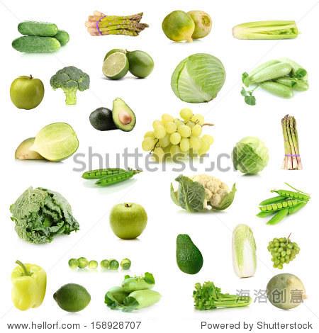 绿色蔬菜和水果的拼贴画