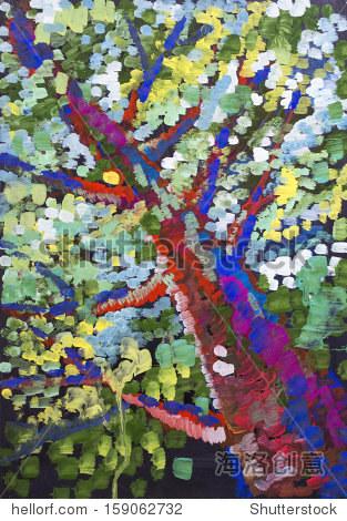 水粉颜料画彩色的树叶在树上
