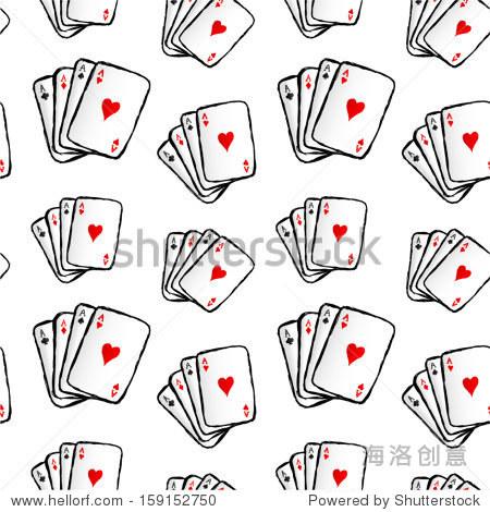 手绘扑克牌无缝模式.