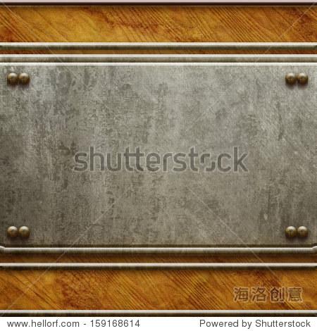 金属招牌在旧木制背景