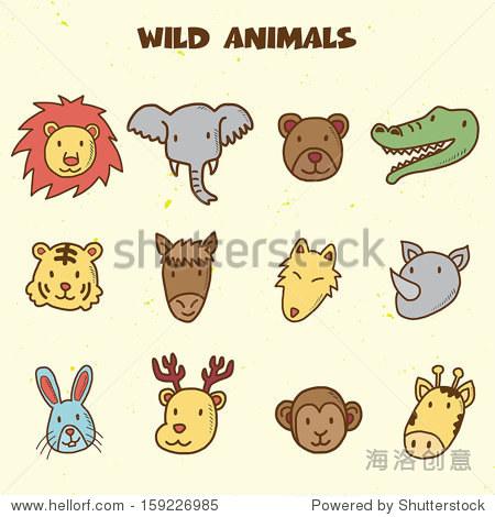 野生动物涂鸦图标,矢量手绘风格