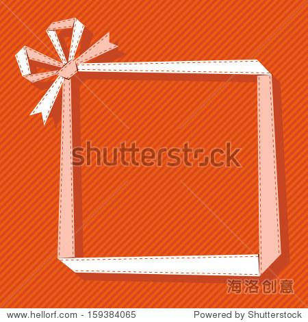框架由光纸丝带蝴蝶结.折纸现代背景与文本框表示.