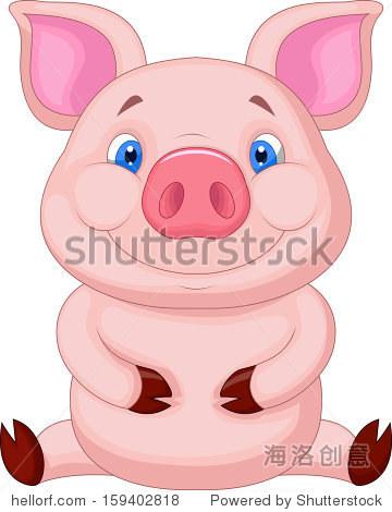 可爱的猪宝宝坐-动物/野生生物-海洛创意正版图片